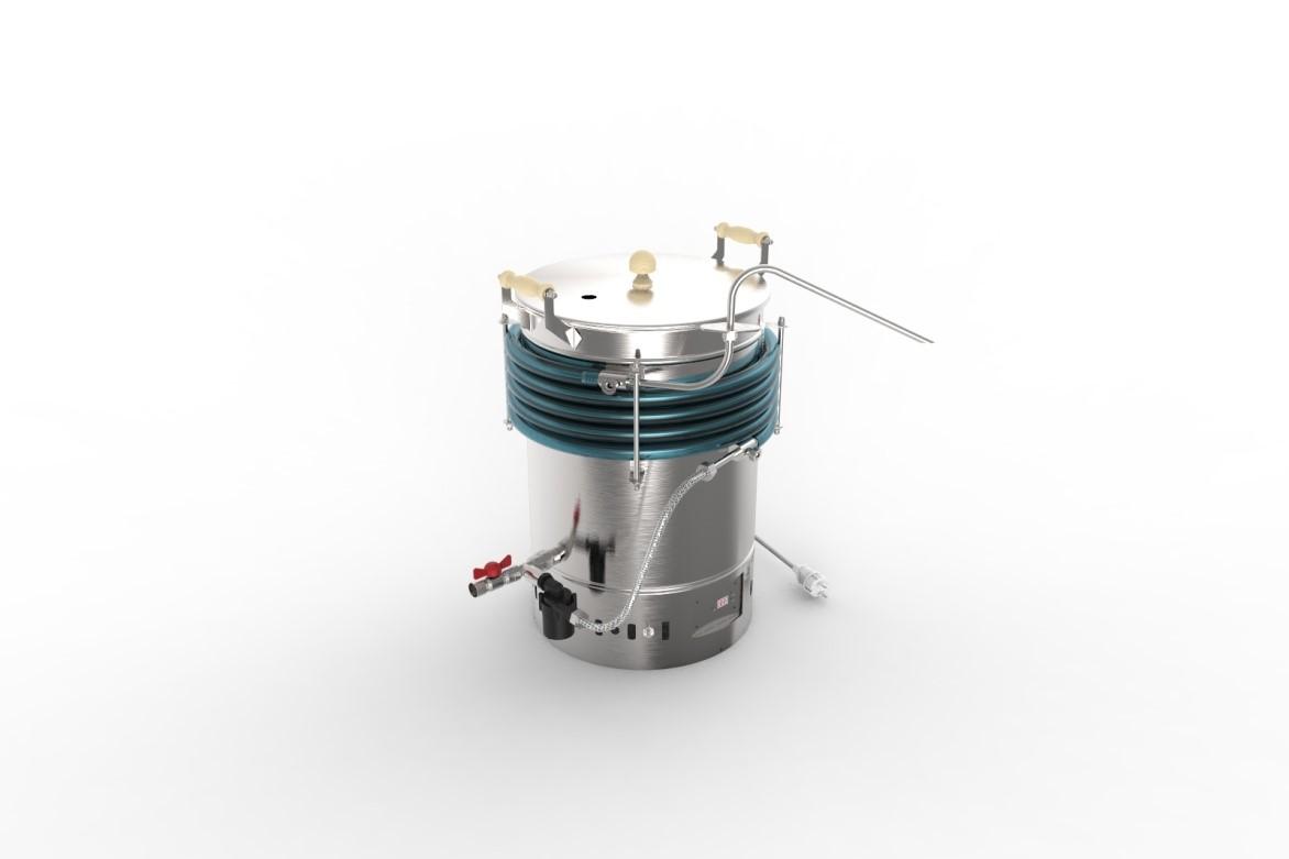 Пивоварня АЛКОВАР BeerMaker поворотное сопло направлено в приемную (бродильную) емкость. Компьютерная модель