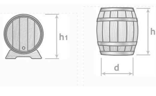 Размеры дубового бочонка на 100 литров.