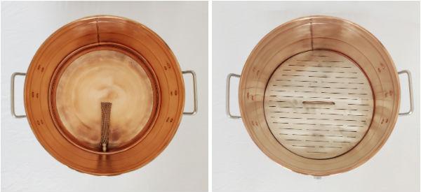 Фильтр базука и фальшдно для затирания солода в медном котле.