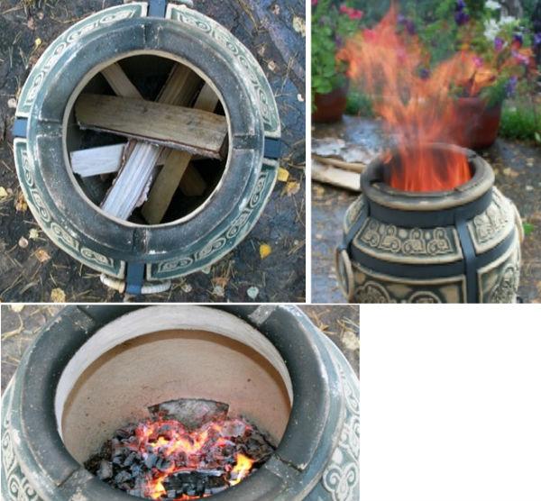 Принцип работы дровяного тандыра.