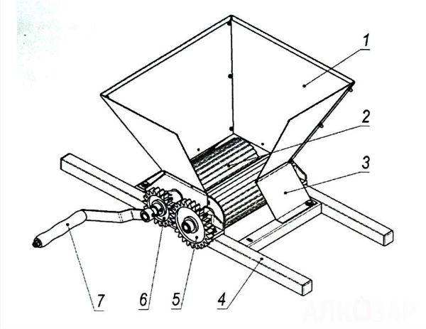 Схема дробилки АЛКОВАР Изабелла
