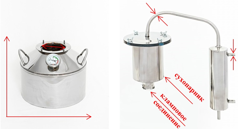 технические характеристики аппарата Алковар Гурман: размеры перегонного куба, подводящих/отводящих трубок