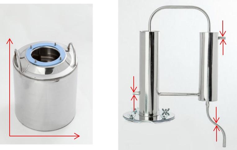 технические характеристики аппарата Алковар Крепышок, диаметры перегонного куба, подводящих/отводящих трубок