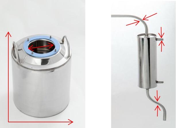 технические характеристики аппарата Алковар Прогресс: размеры перегонного куба, подводящих/отводящих трубок