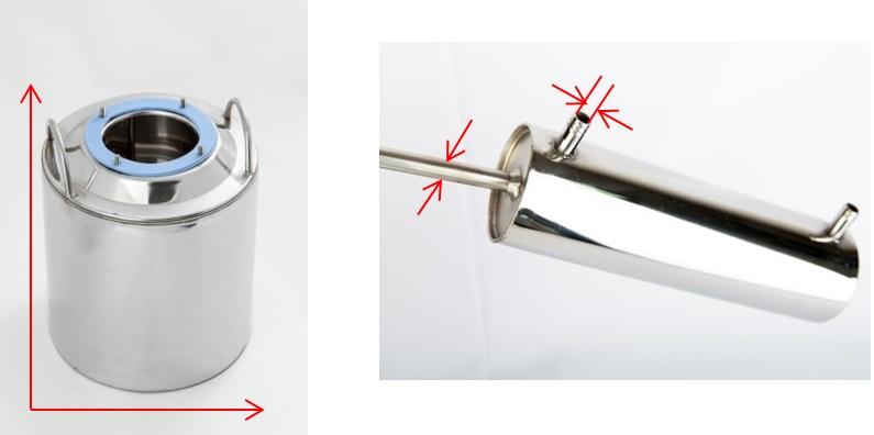 технические характеристики аппарата Алковар Классик диаметры перегонного куба, подводящих/отводящих трубок